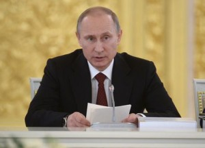 Russian President Vladimir Putin attends a state awards presentation ceremony in the Kremlin in Moscow
