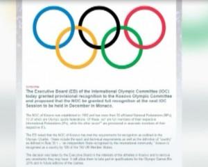 Kosova pranohet si anëtare e përkohshme e Komitetit Olimpik Ndërkombëtar