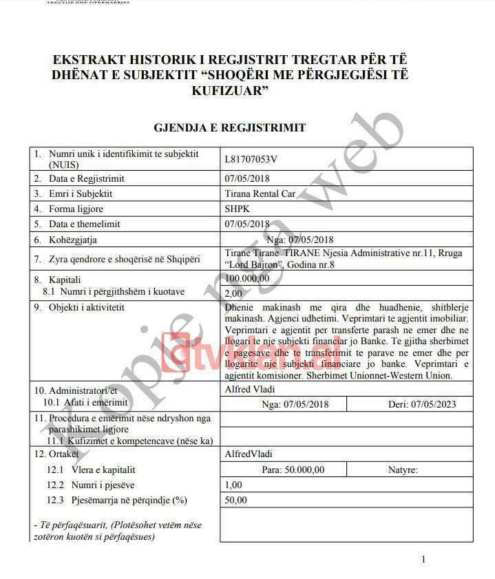 Faksimile/ Ekstrakti i QKR i kompanisë Tirana Rental Car