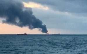 Zjarr në dy anije në mes të detit