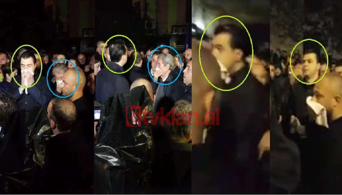 Foto tvklan: Lulzim Basha dhe Sali Berisha pas hedhjes së gazit lotësjellës para Parlamentit