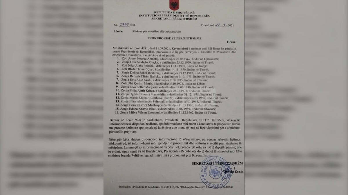 Dekretimi i qeverisë së re, Meta kërkon verifikim nga Prokuroria për ministrat